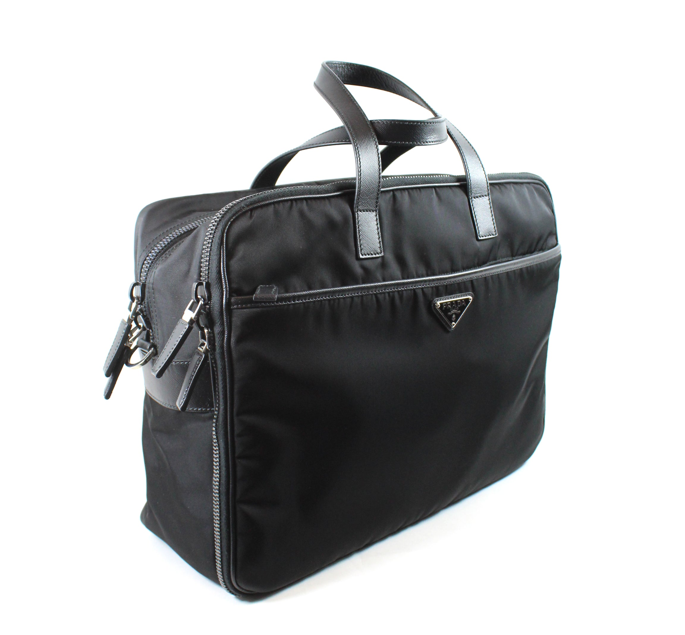 Prada Black Saffiano Leather-trimmed Nylon Zippered Briefcase