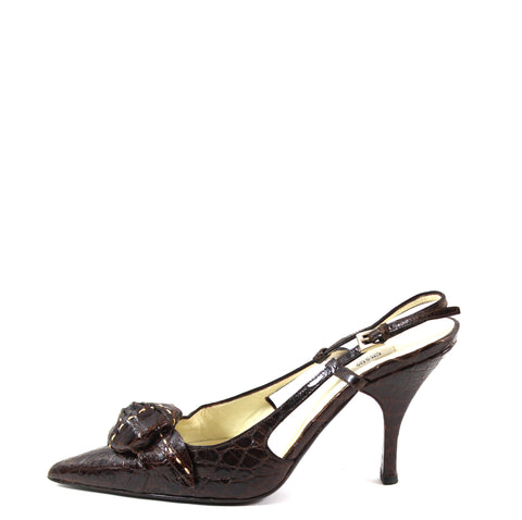 Prada Dark Brown Crocodile Patent Leather Rosette Slingbacks (Size 36.5)