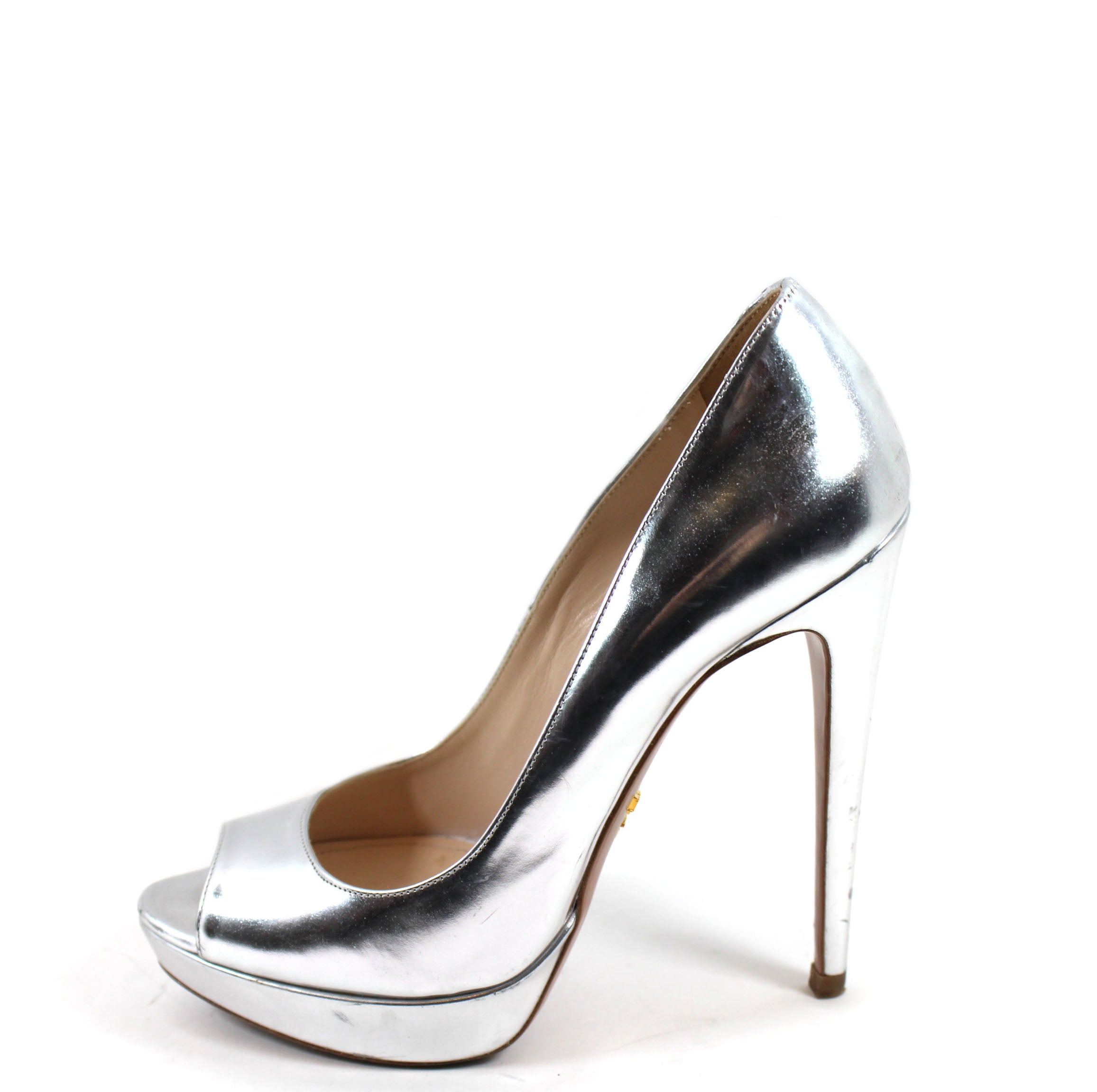 728316308c8  Sold  Prada Metallic Silver Leather Platform Heels (Size 37) – Encore  Consignment