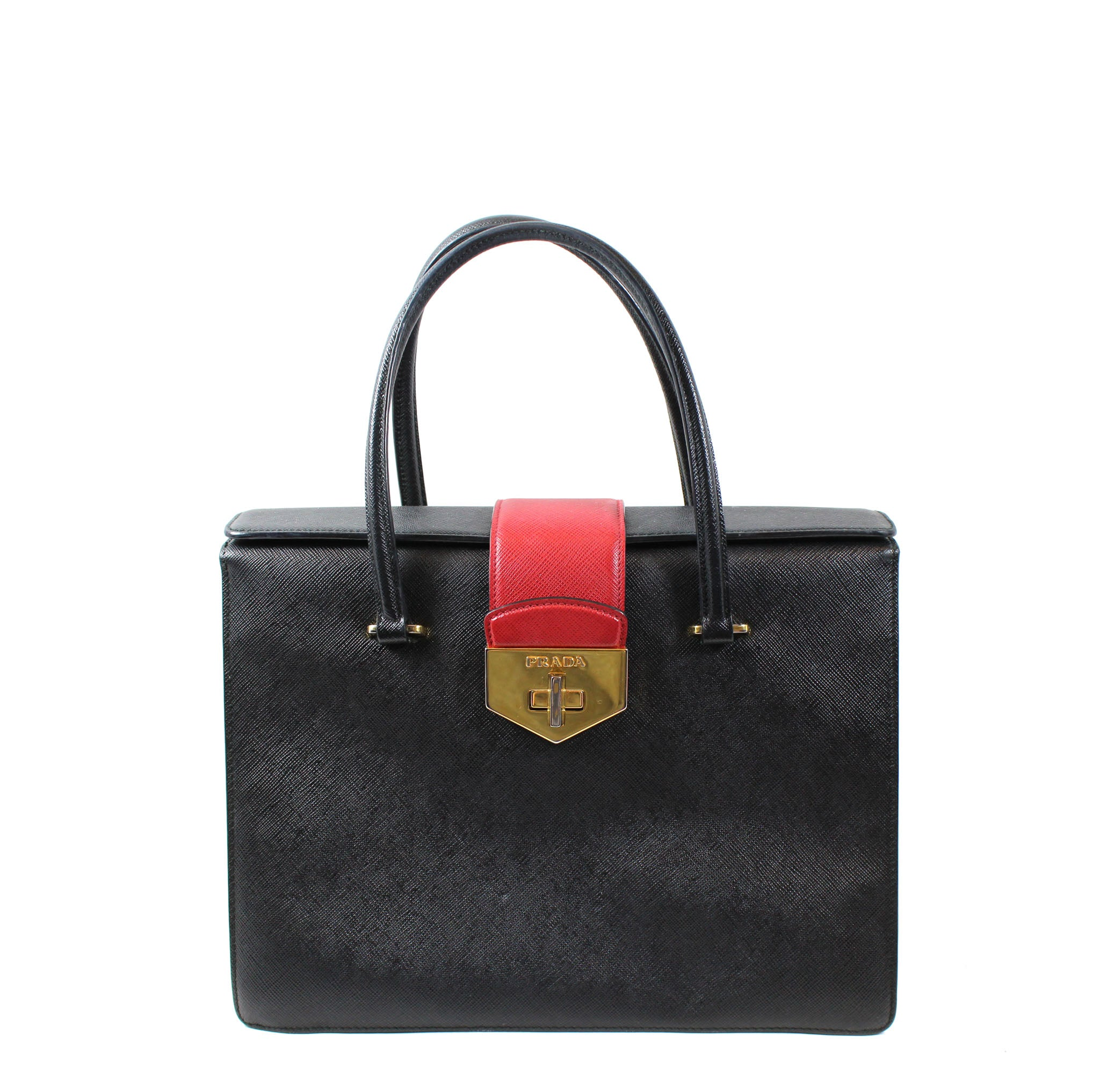 41ef4de5cf Prada Black White Red Saffiano Leather Gusseted Handbag – Encore Resale.com