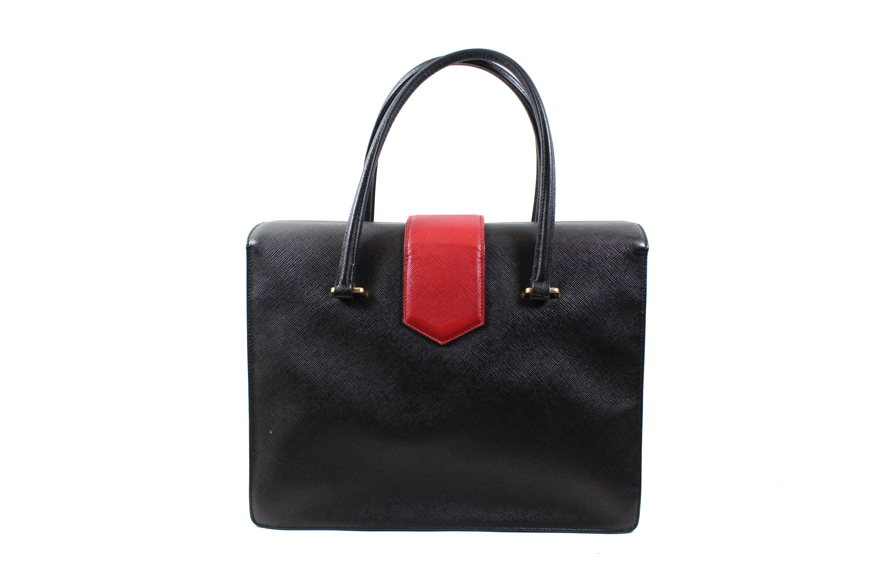 3f9f41f3ed33 Prada Black White Red Saffiano Leather Gusseted Handbag – Encore Resale.com
