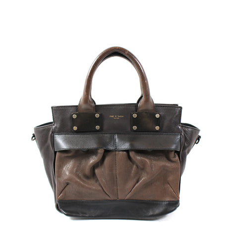 HERMES Herbag Zip 31 Black Canvas Chocolate Brown Leather Palladium HW + Pouch