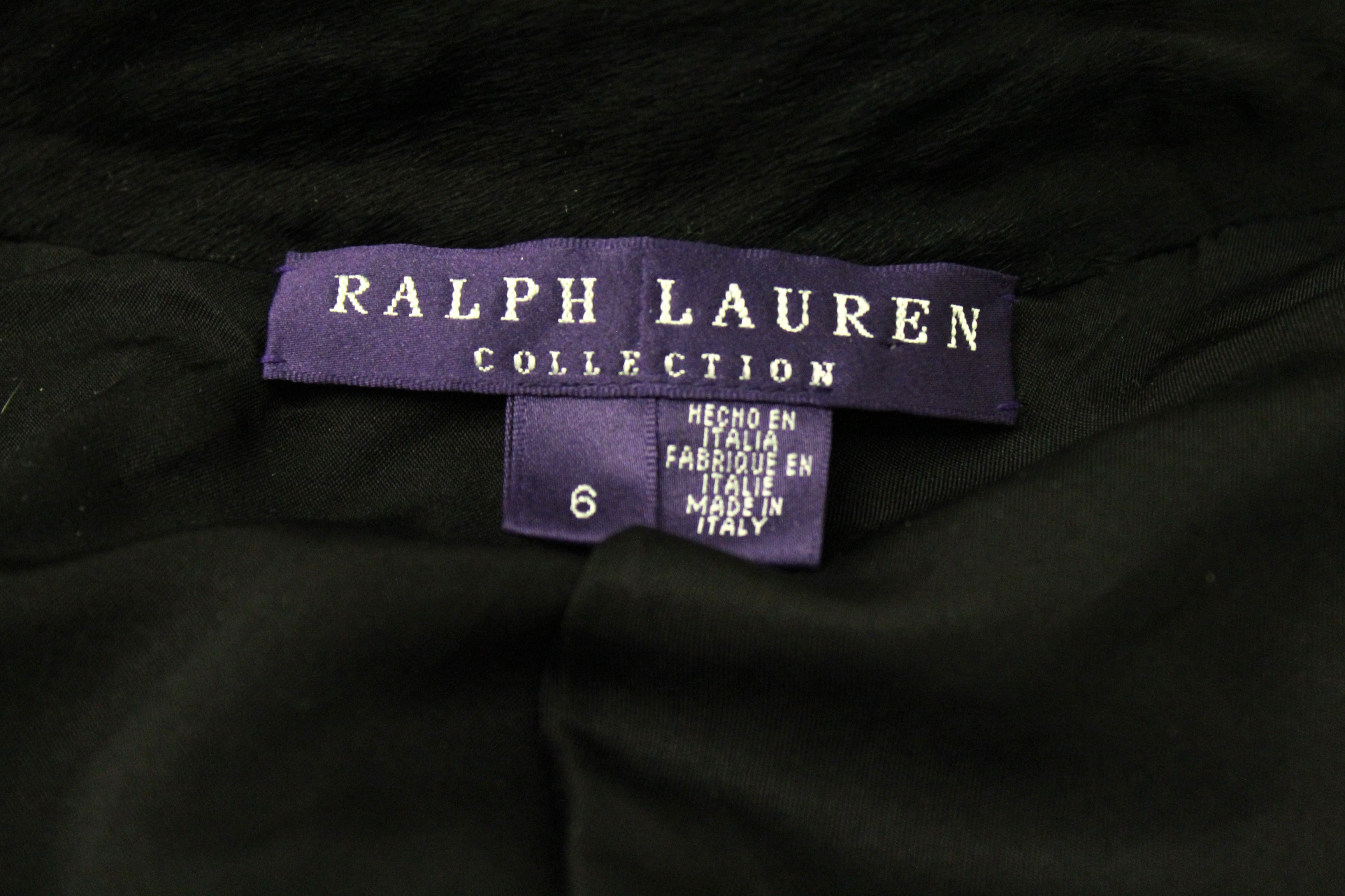 Ralph Lauren Black Calfhair Racing Jacket (Size 6)