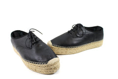 Saint Laurent Black Leather Lace-up Espadrilles (Size 39)
