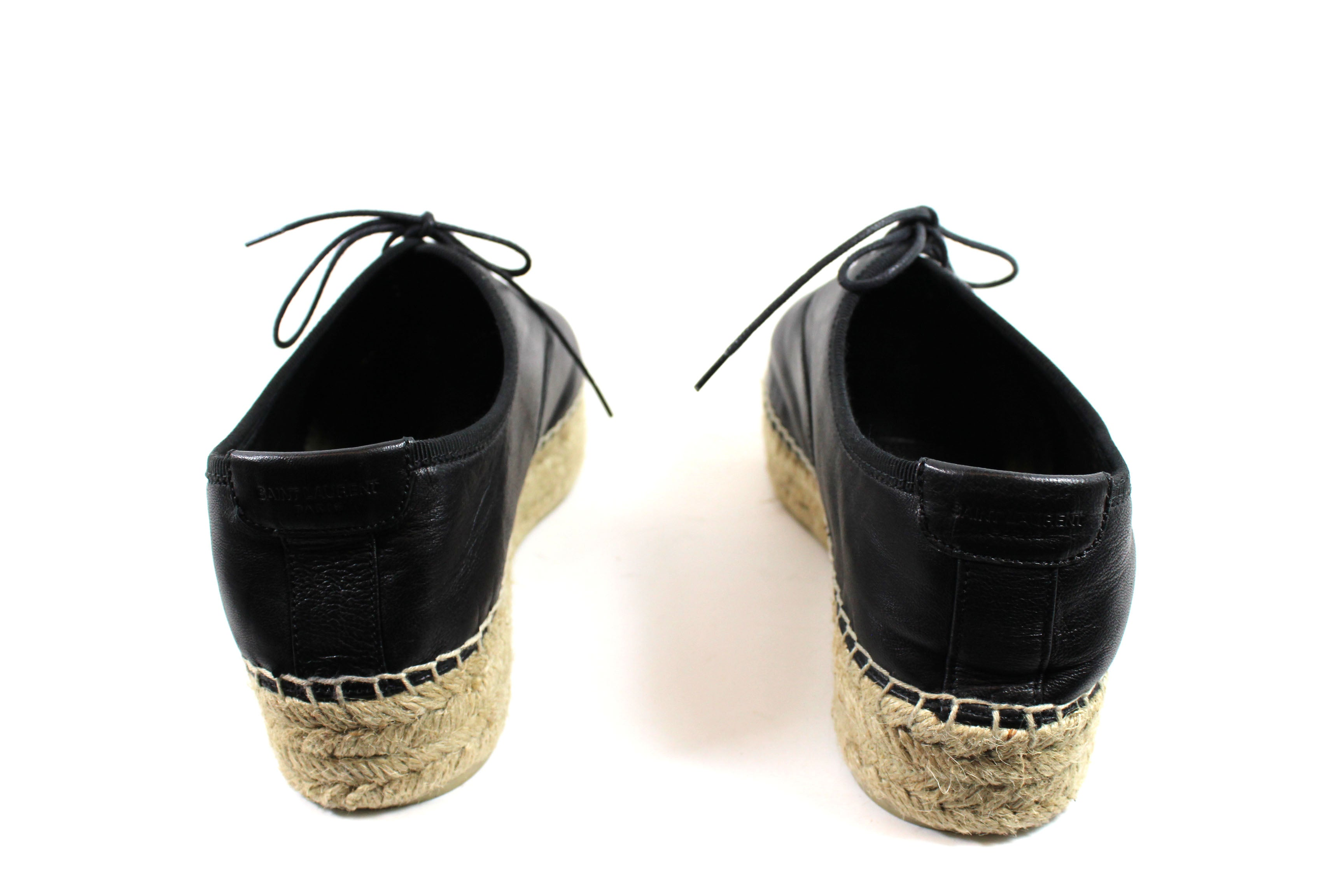 'Sold' Saint Laurent Black Leather Lace-up Espadrilles (Size 39)