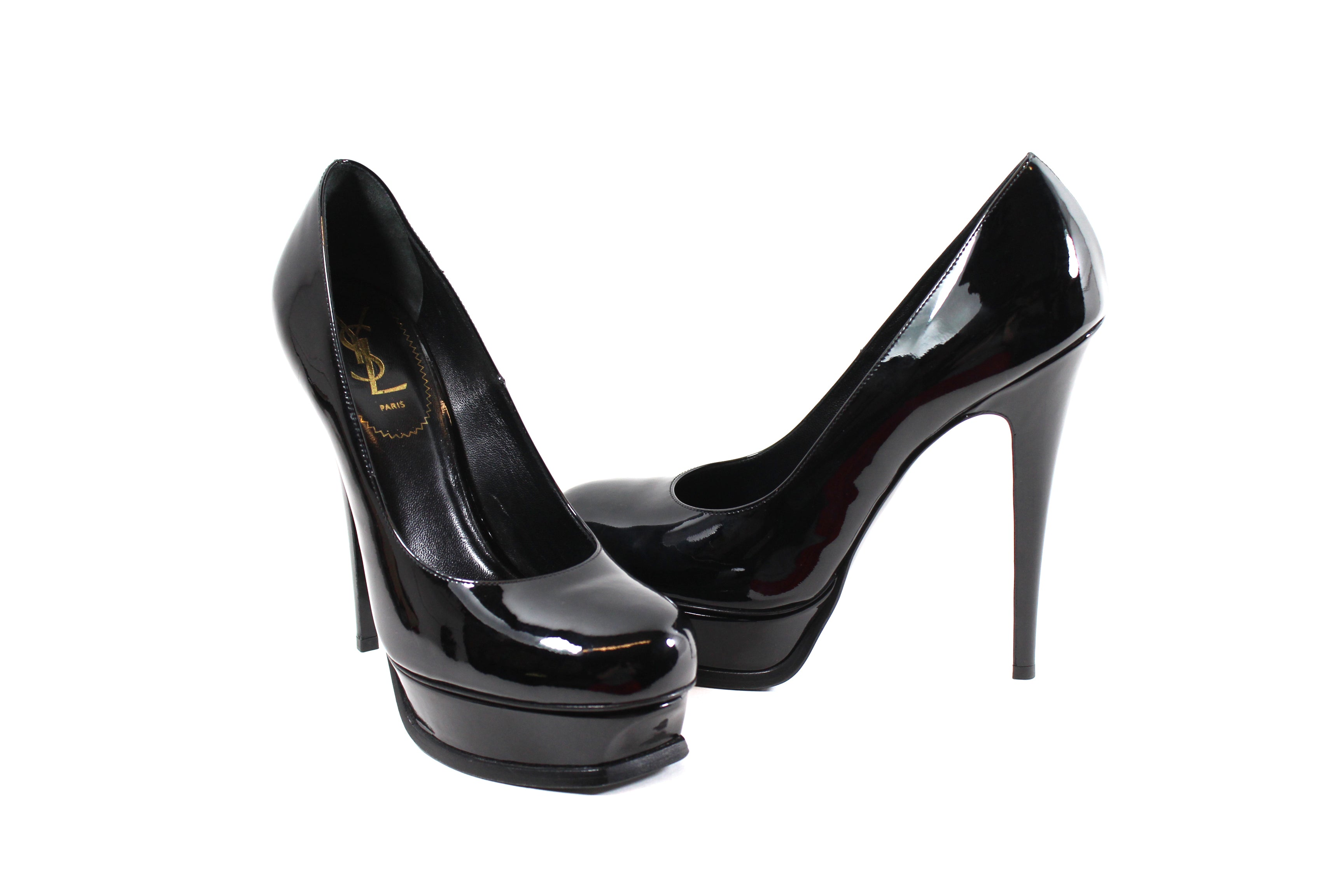78291ef93eb1 Yves Saint Laurent  Tribute  Black Patent Leather Platform Heels (Size ...