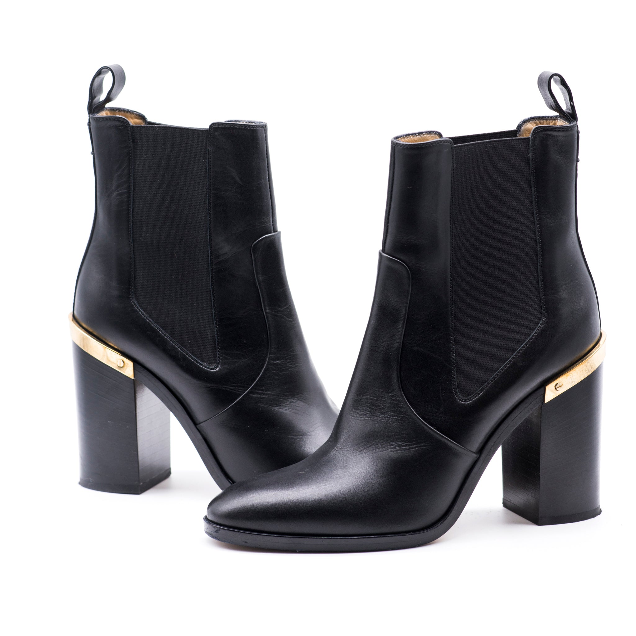 REED KRAKOFF Black Leather Gold Tone Metal Plate Stacked Heel Ankle Boots 39