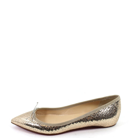 'Sold' Christian Louboutin 'Solasofia' Gold Metallic Snakeskin-patterned Flats (Size 36.5)