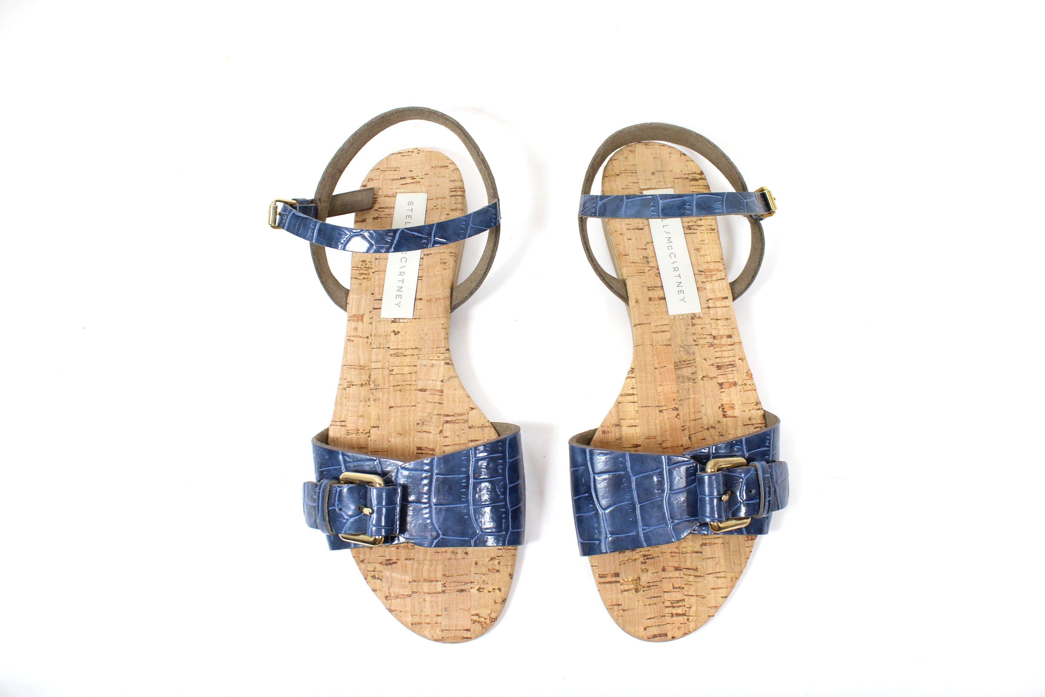 Stella McCartney Blue Vegetarian Leather Cork Sandals (Size 39)