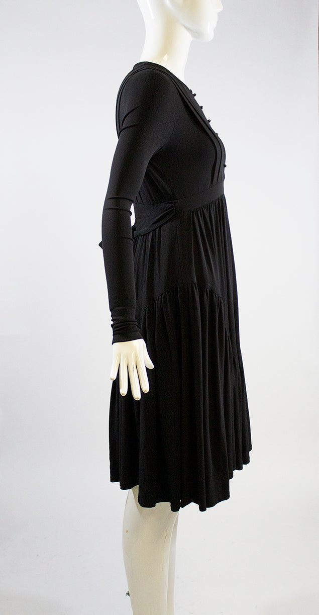 BURBERRY Black Long Sleeve Sash Tie Jersey Knit Viscose Tiered Midi Dress 40 GUC