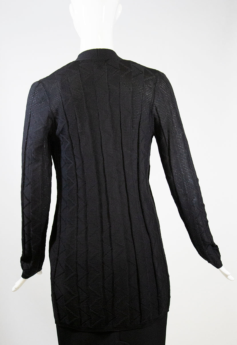 'Sold' M MISSONI Black Tonal Zigzag Stitch Open Front Wool Blend Cardigan Sweater IT 42
