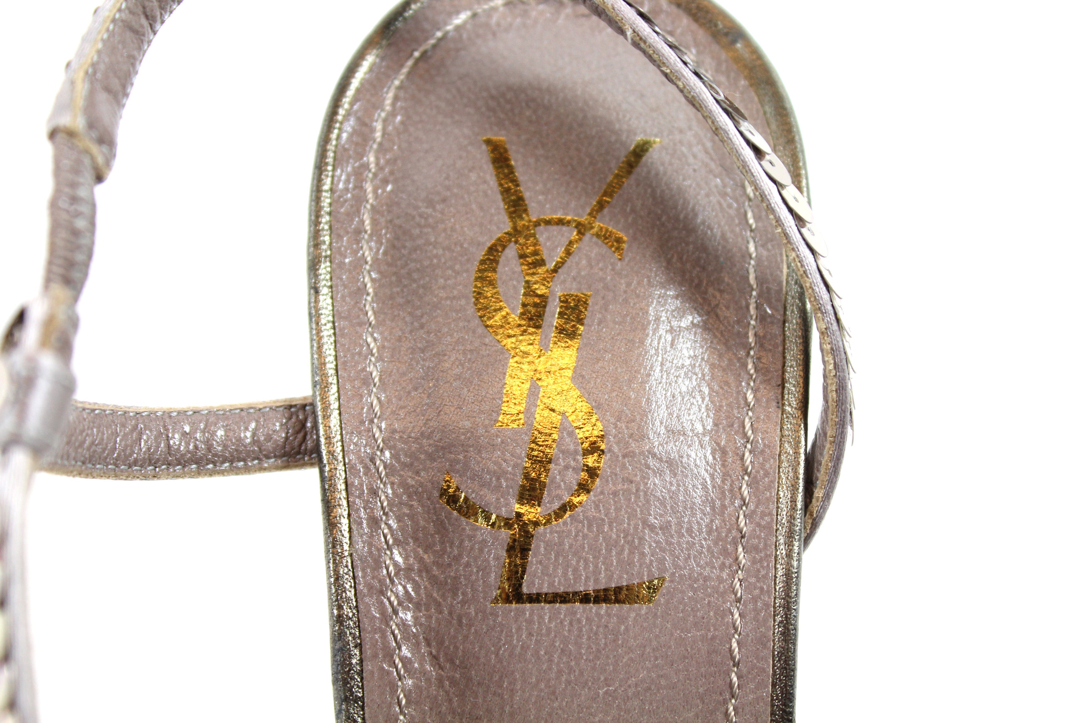 Yves Saint Laurent Taupe Sequined Strappy Sandals (Size 39.5)