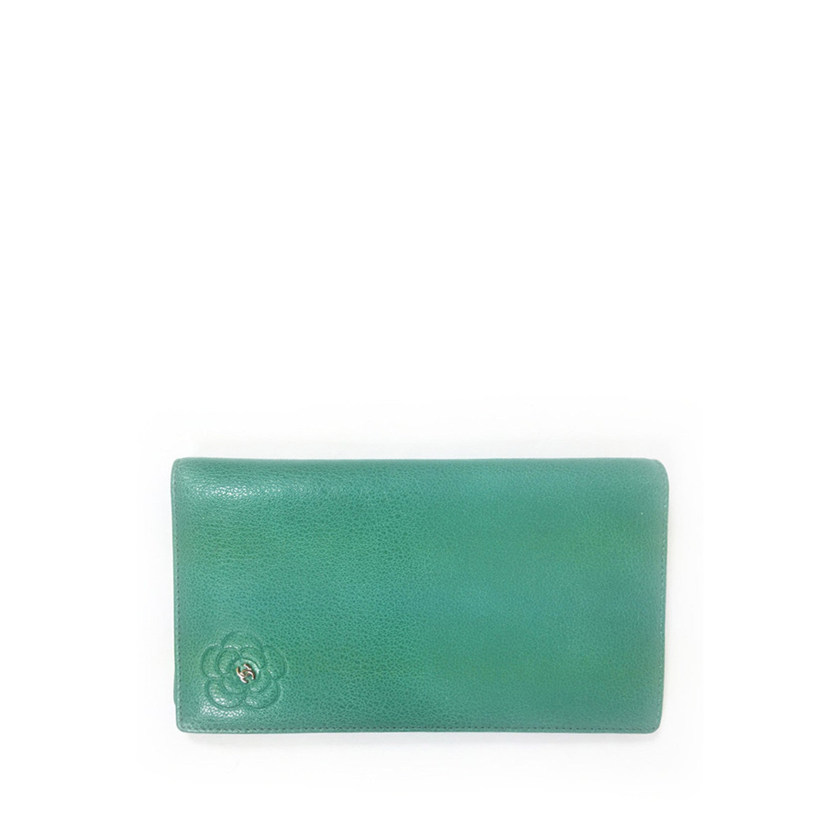 Chanel 2010 Green Leather Camellia Long Flap Wallet - Encore Consignment - 1