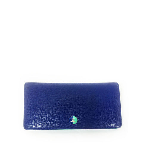 Chanel 2013 Two-Tone Leather L-Yen Wallet - Encore Consignment - 1