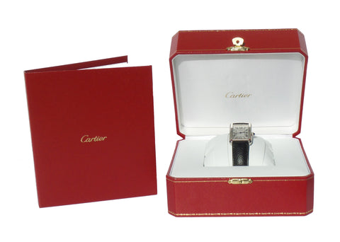 'Sold' CARTIER Tank Steel Black Leather Strap Quartz Watch with Box 2017