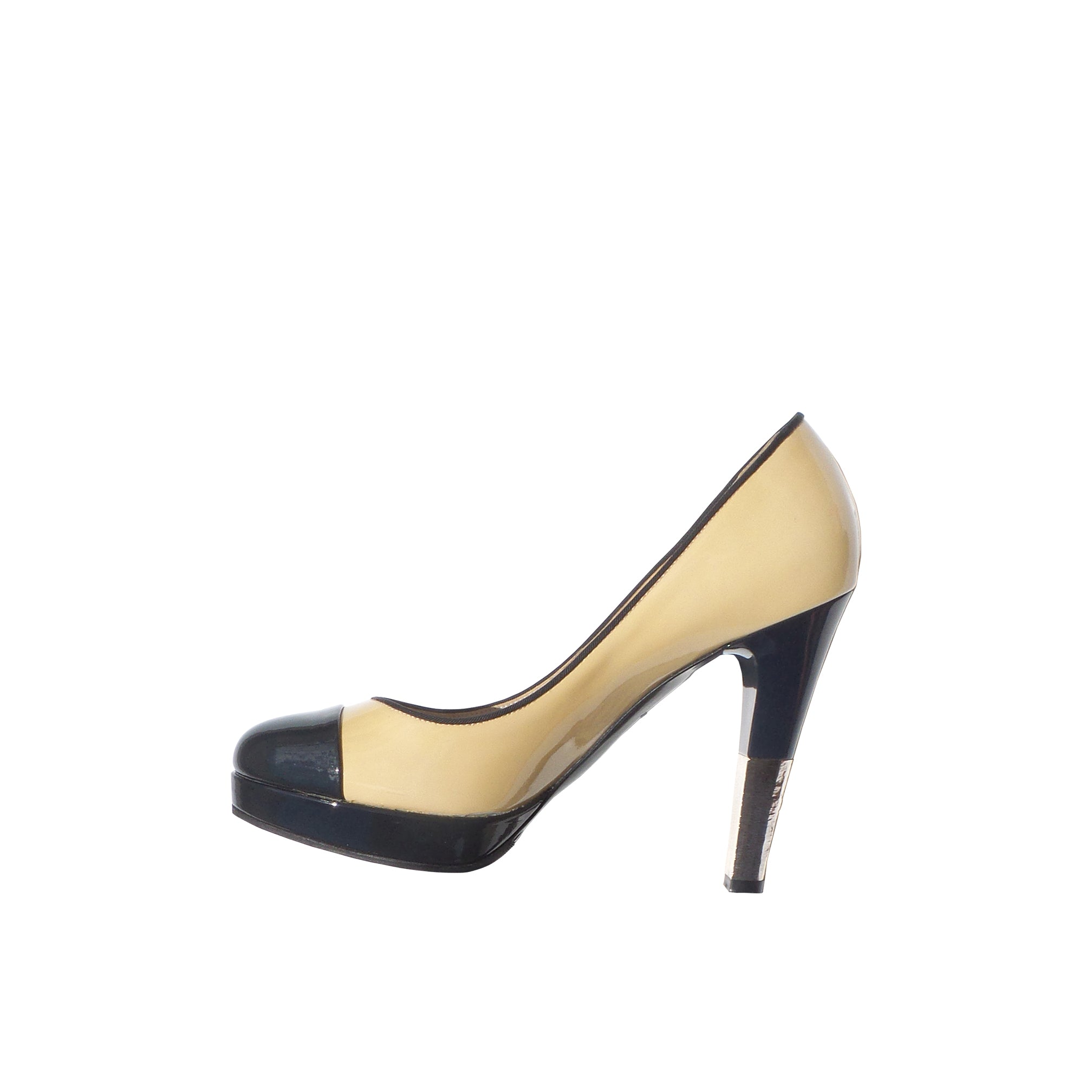 a77e5a70a CHANEL Beige Black Navy Patent Leather Cap Toe Platform Silver Heels P –  Encore Resale.com
