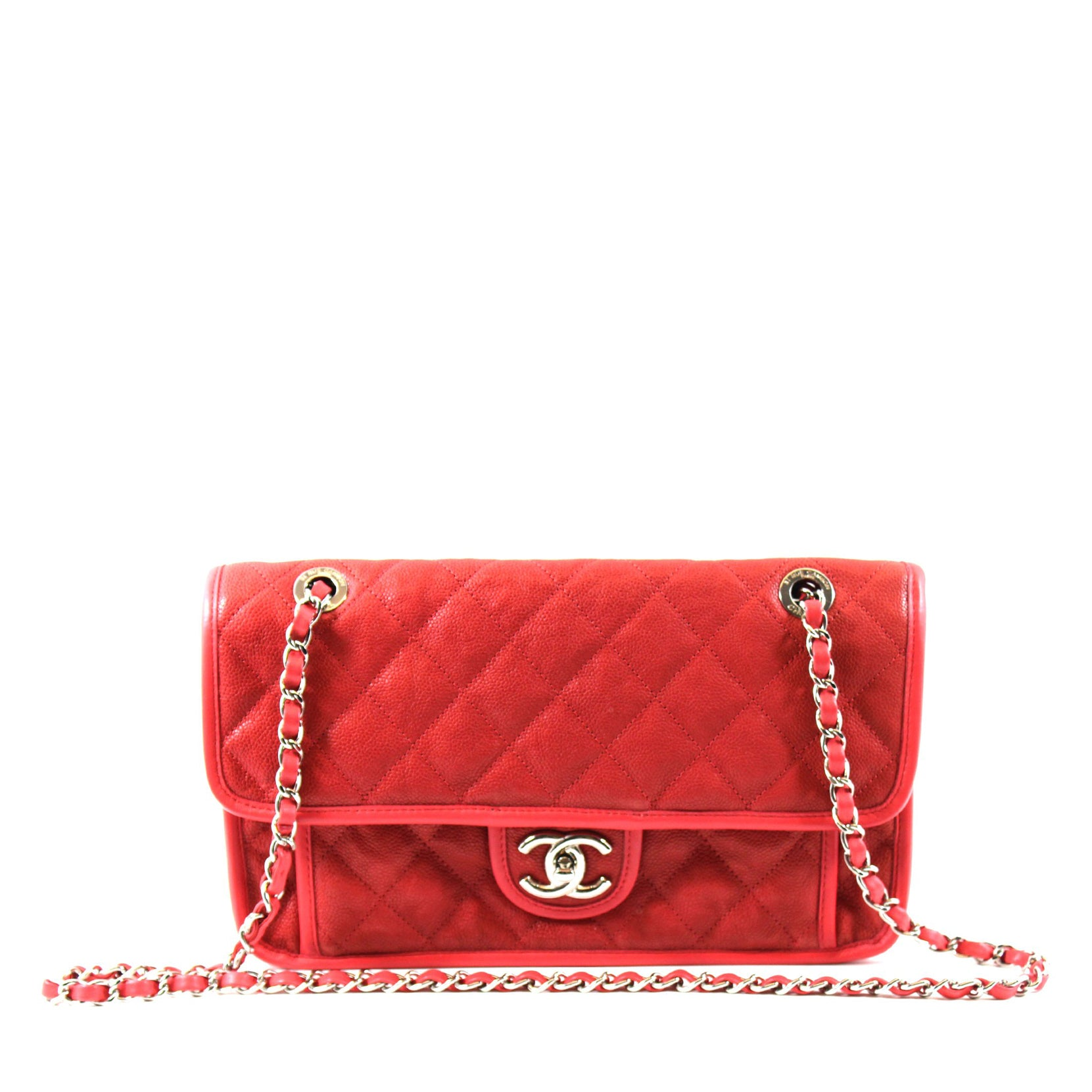 Chanel French Riviera Red Quilted Caviar Leather Medium Flap Bag ... : chanel red quilted bag - Adamdwight.com