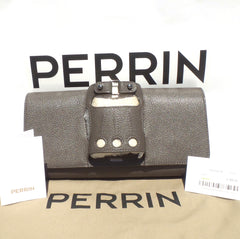 'Sold' PERRIN Paris Le Cabriolet Rhino Gray Taupe Goat Leather SHW Glove Clutch $995
