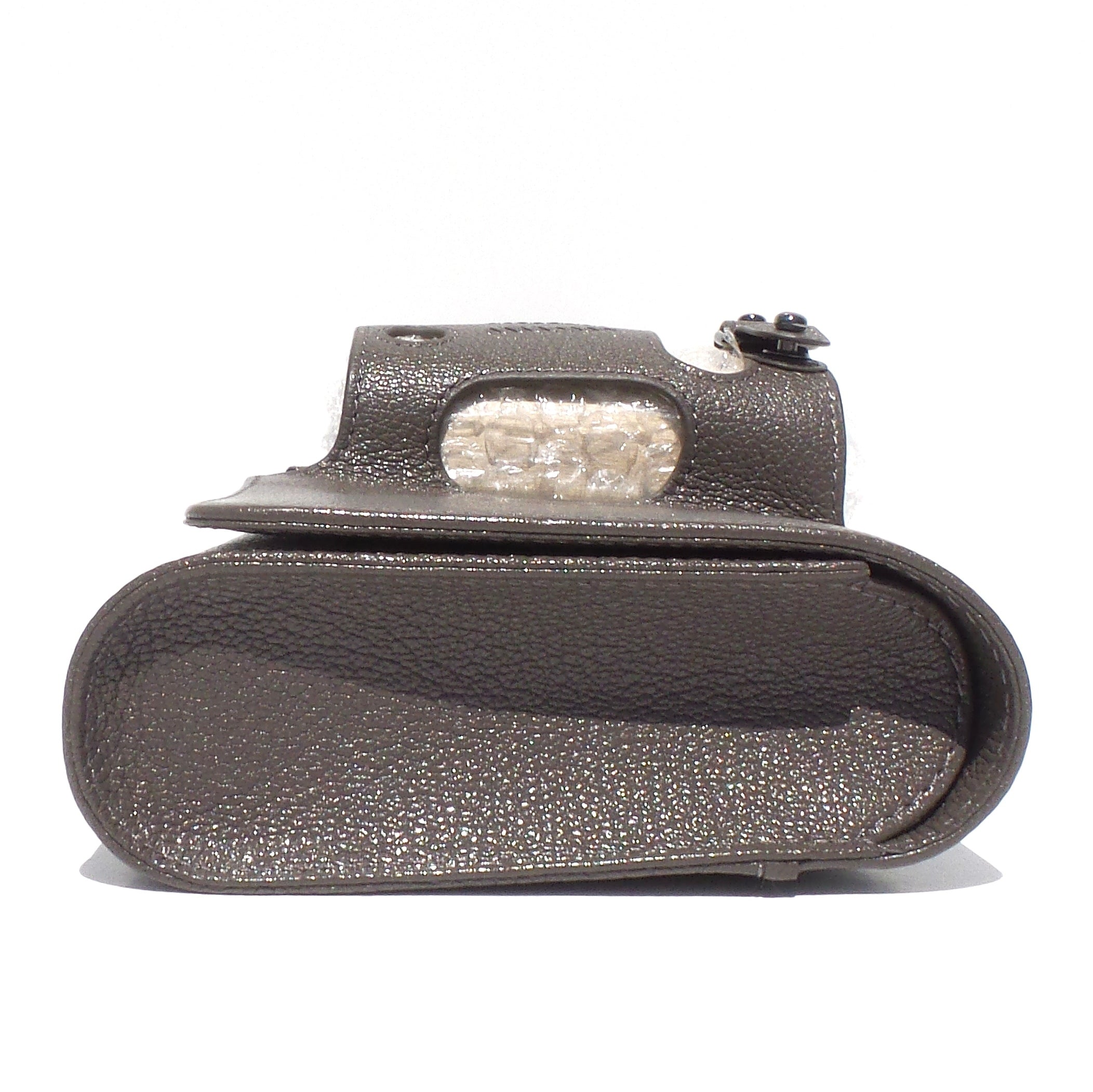 PERRIN Paris Le Cabriolet Rhino Gray Taupe Goat Leather SHW Glove Clutch $995