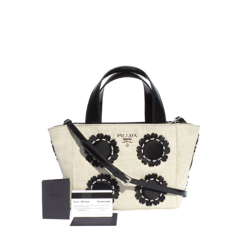 PRADA Mistolino Beige Canvas Black Patent Satin Floral Applique Garders Tote Bag