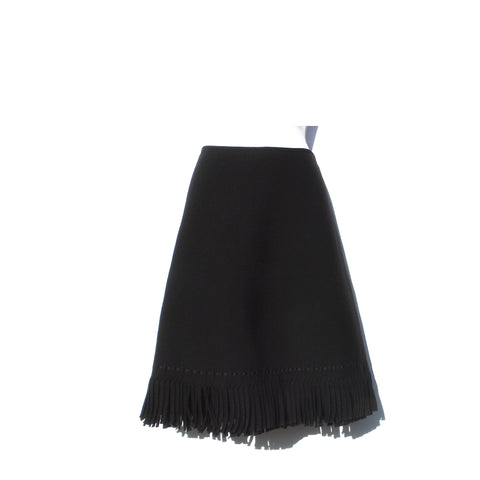 'Sold' ALAÏA AW17 Black Wool Viscose Double Layer Fringe Trim A-Line Skirt FR 44 $2140