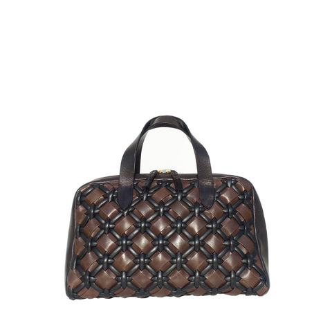 CHRISTIAN LOUBOUTIN Panettone Black Pebbled Leather Spike Studded Satchel Bag GC
