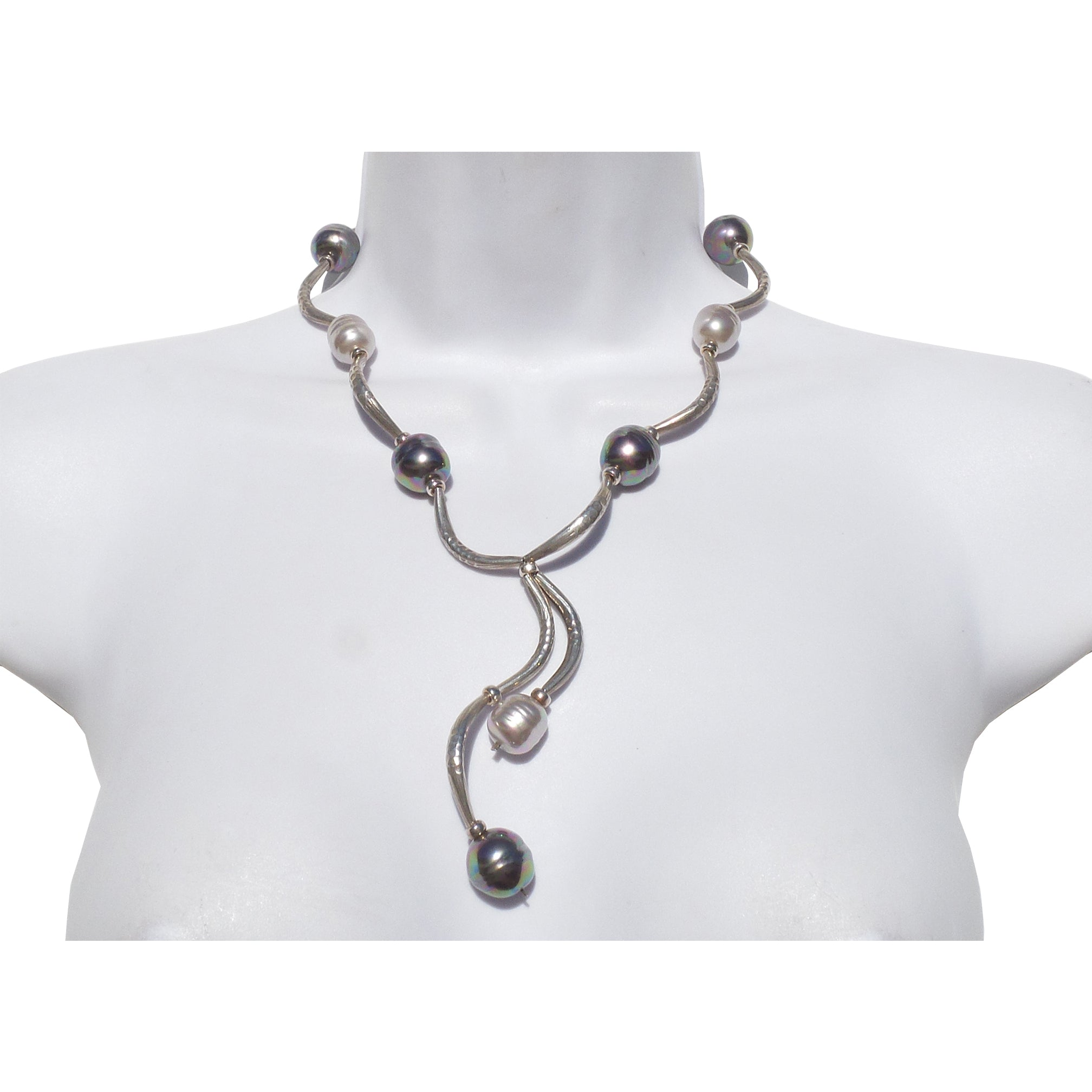 FRANCA Large Gray White Baroque Pearl Cured Carved Silver Lariat Twist Necklace