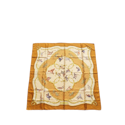 "'Sold' LOUIS VUITTON Inventeur Brown Gold Monogram Logo Silk Twill Square Scarf 21"" GC"