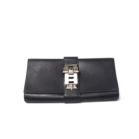 HERMES Medor 29 Black Box Leather Palladium Hardware Collier De Chien Clutch CDC