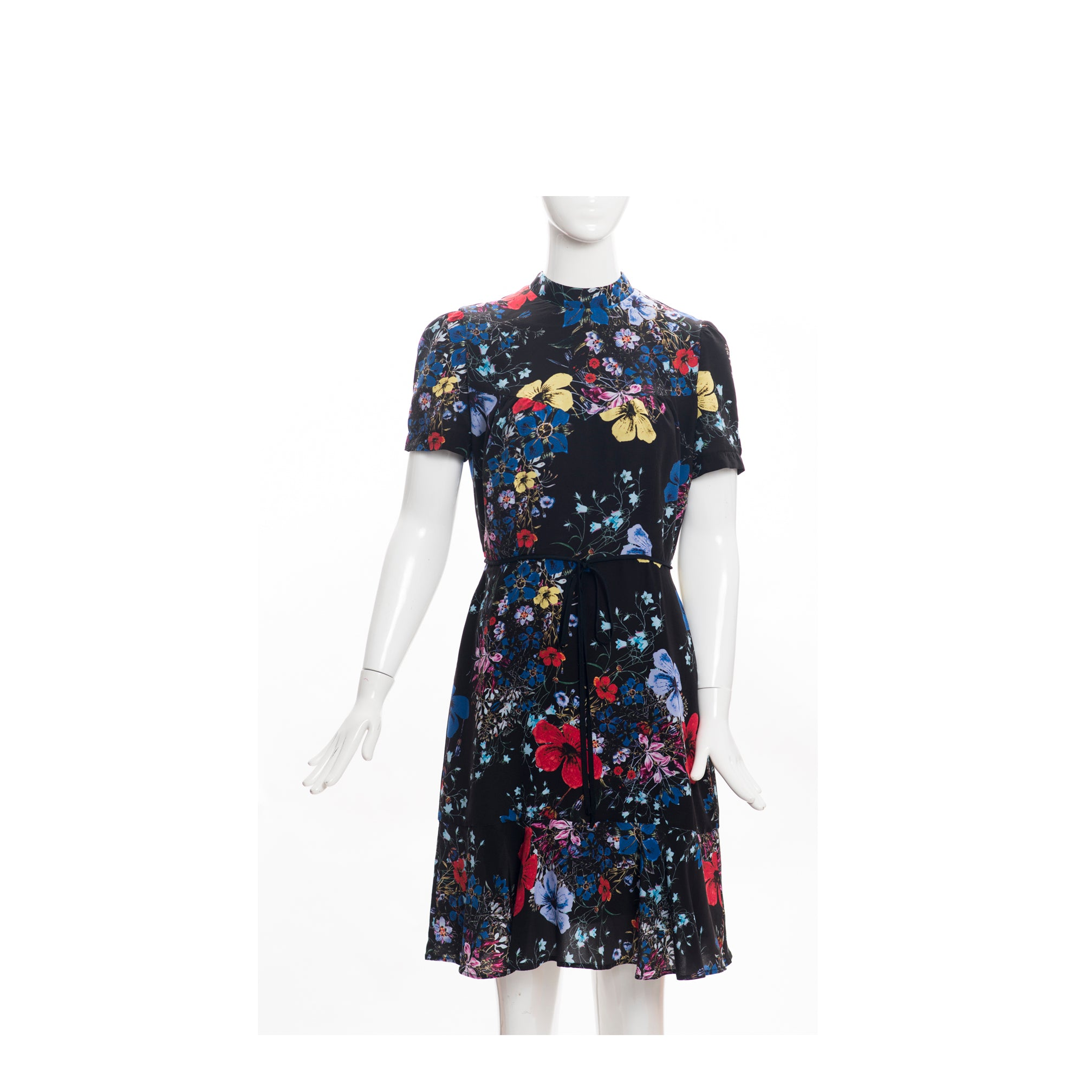 'Sold' $1130 ERDEM Black Carmel Floral Print Short Sleeve Anne Flounce Silk Dress UK 10 US 6