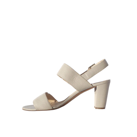 'Sold' MANOLO BLAHNIK Lasatte White Leather Beige Stitch Notched Vamp Slide Sandals 38