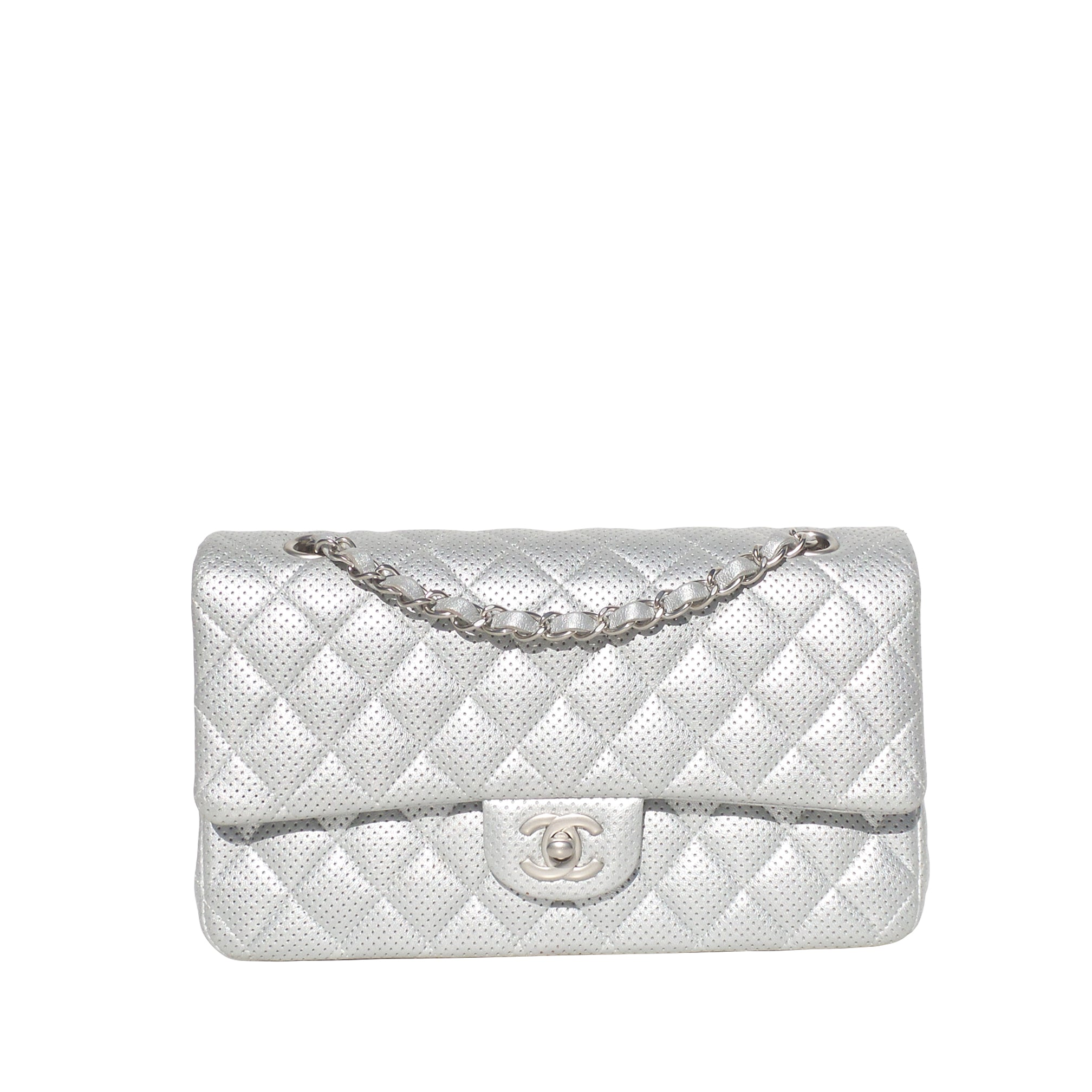 CHANEL 15C Lt Silver Perforated Leather Quilted Medium Double Flap Shoulder Bag