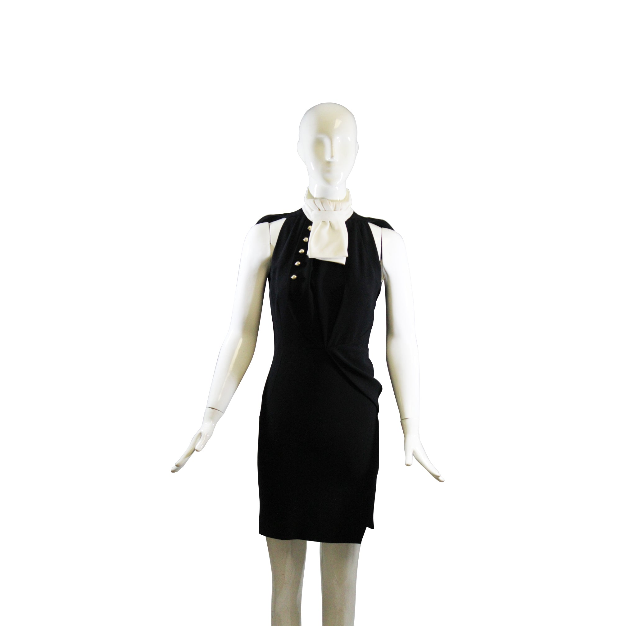 ALTUZARRA Black Ivory White Pleated Bib Collar Button Sleeveless Ruched Dress 34