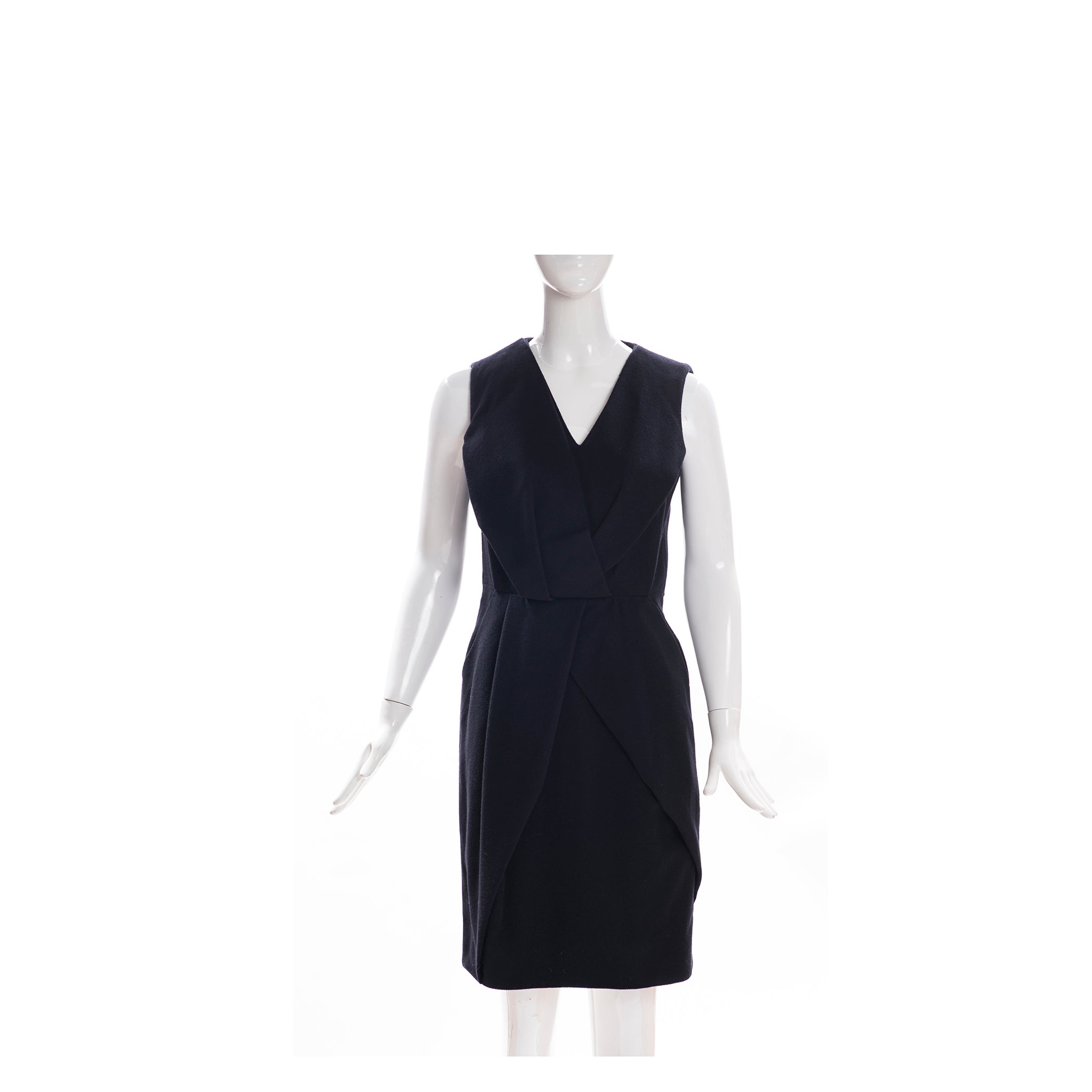 PAUW Amsterdam Black Wool Cashmere Sleeveless V Neck Sheath Dress Designer Sz 2