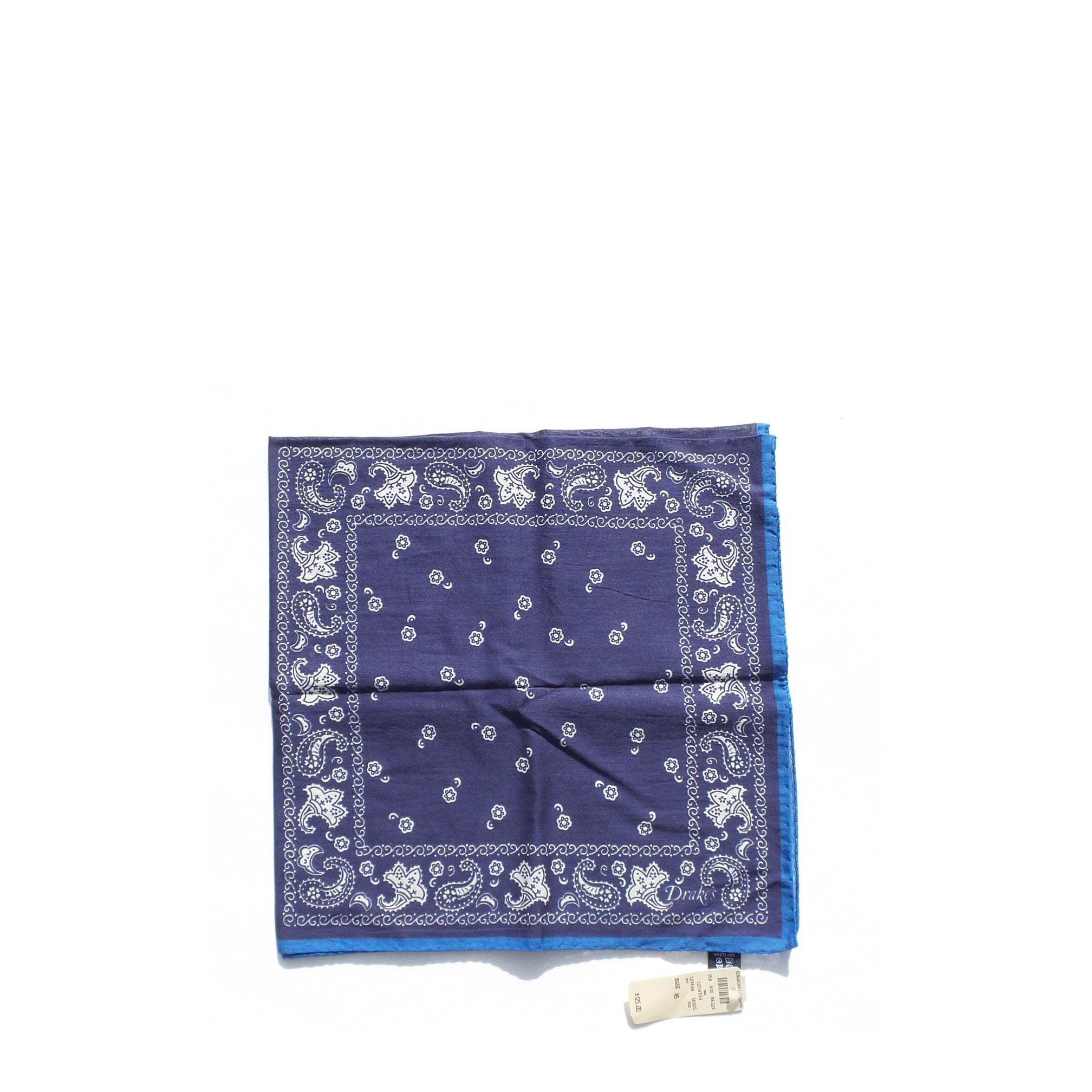 "DRAKE'S London Navy Blue White Paisley Scarf Handkerchief Pocket Square 27"" $125"