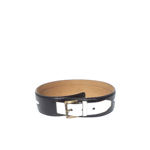 Hermès Vintage Black Crocodile Belt with Gold Logo Buckle