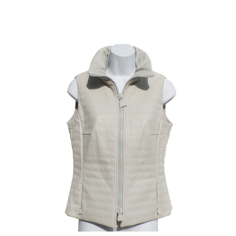 AKRIS Echo Light Gray Quilted Lamb Napa Leather Stand Collar Vest IT44 8 $2990