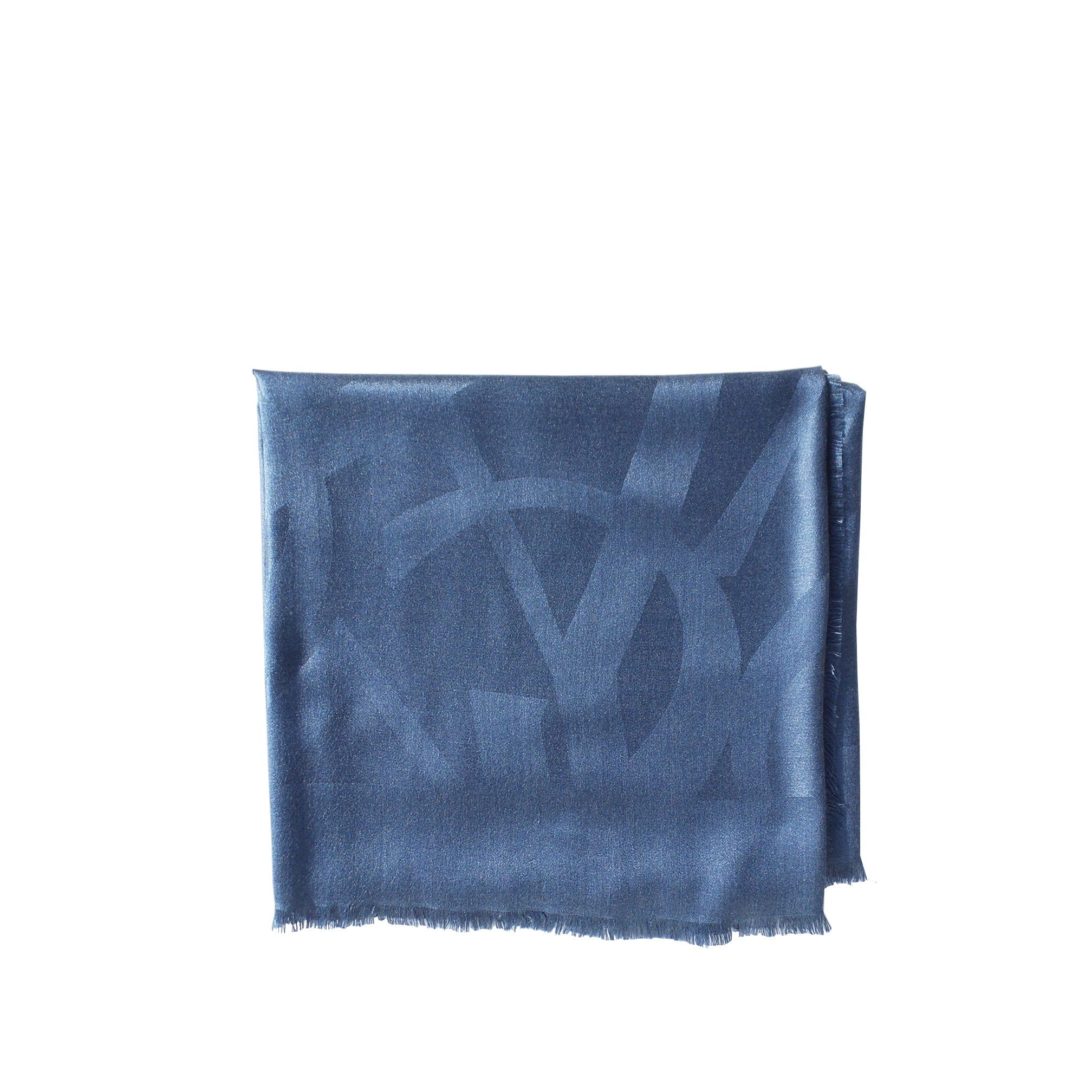 'Sold' SAINT LAURENT Blue Random Logo Jacquard Fringe Trim Square Silk Scarf Stole $495