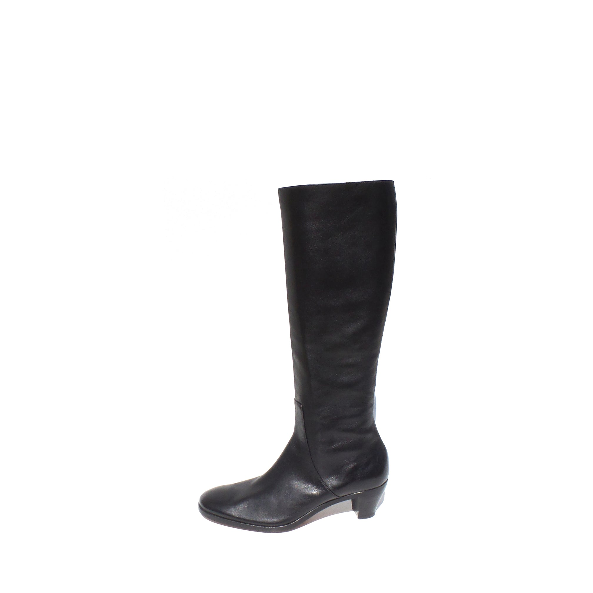 928af62d68b GRAVATI Italy Black Leather Side Zip Stacked Block Heel Knee Boots 7.5 –  Encore Resale.com