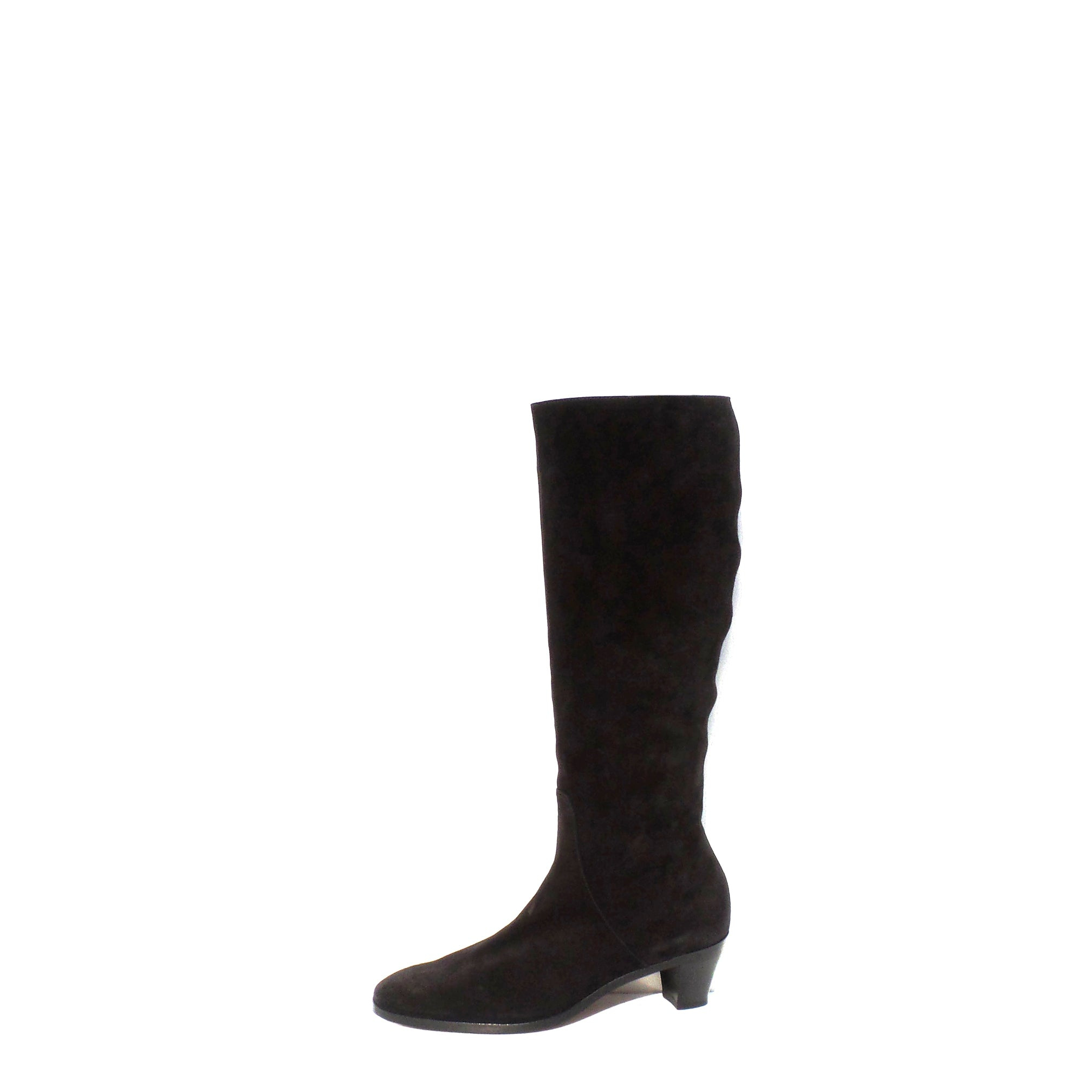 GRAVATI Italy Black Suede Side Zip Stacked Block Heel Knee Boots 7.5 M NWD 4078