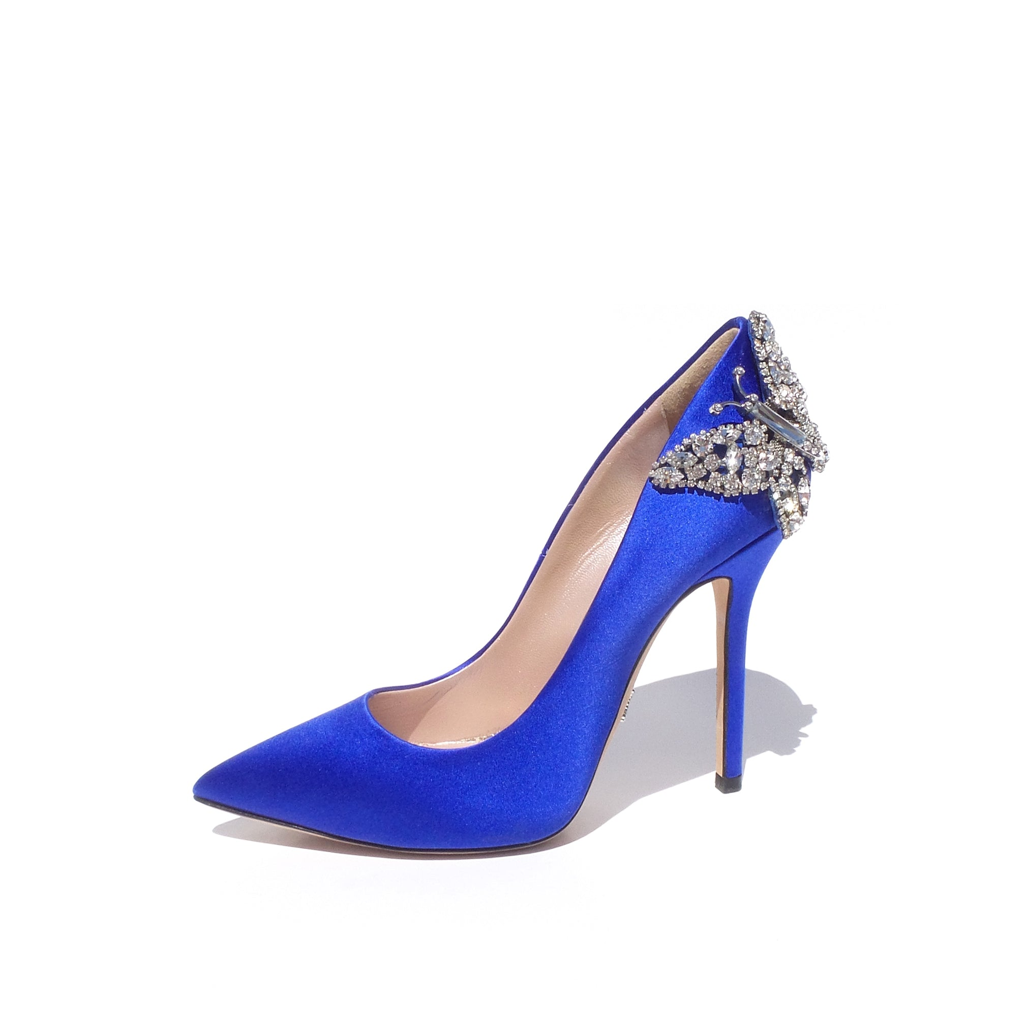 'Sold' ARUNA SETH Pointy Farfalla Blue Satin Crystal Butterfly Heels Bridal Pumps 36 EC