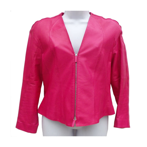 GIORGIO ARMANI Dark Pink Magenta Fuchsia Zip Leather Blazer Jacket S