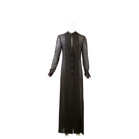 VERA WANG Brown Knot Button Embroidered Cuff Sheer Silk Long Coat Overlay Robe 6