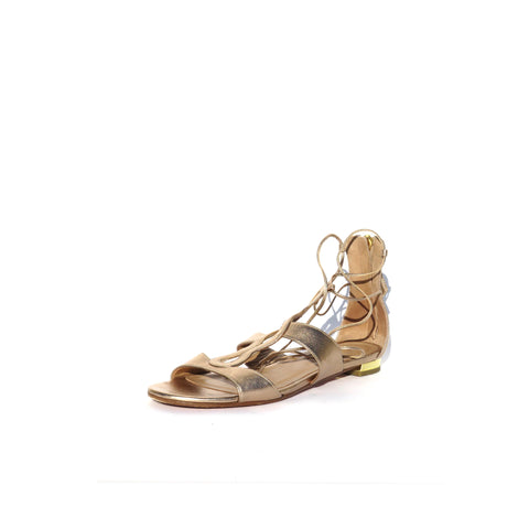 ALEXANDRE BIRMAN Metallic Multi Color Leather Strappy Flat Sandals 38