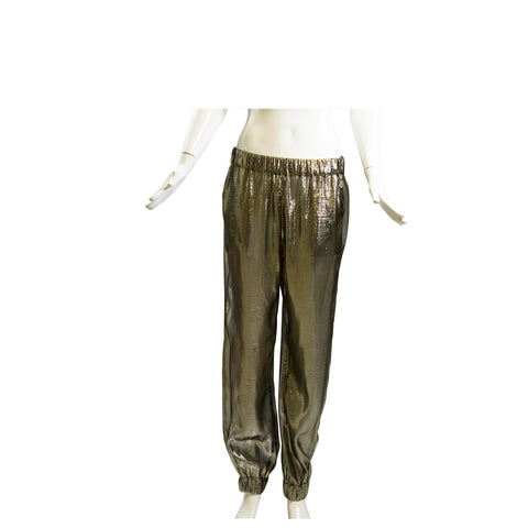 CHANEL 15C Metallic Elastic Waist CC Logo Stretch Cuff Loose Fit Jogger Pants 42