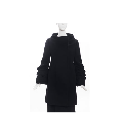 VALENTINO Hiver 2008 Black Double Breasted Snap Ruched Pleat Sleeve Wool Coat 2