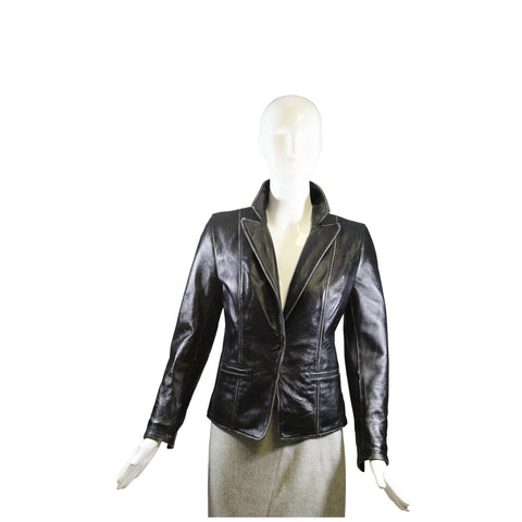 Ralph Lauren Black Label Vertical Paneled Lamb Leather Moto Biker Zip Jacket 4