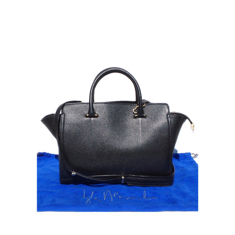 MYRIAM SCHAEFER Bicolor Joyce Black Saffiano Leather Navy Small Satchel Tote Bag