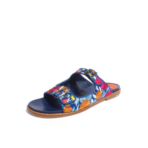 $795 MANOLO BLAHNIK Sturluspa Blue Floral Embroidered Canvas Flat Slide Sandals 39.5