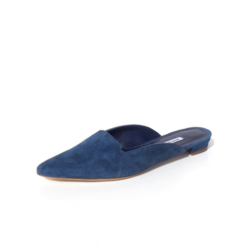 MANOLO BLAHNIK Blue Suede Pointed Toe Notched Vamp Ruby Mule Slides Flats 37.5